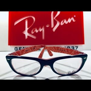 Ray-Ban Eyeglasses Top Black on Textured Red New